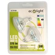 Ecolight 5w Led Mr16 3000k Light Bulbs Twin Pack (EC79108)